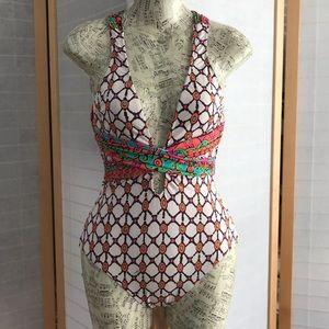 Sz 4 one piece swimsuit cross straps low neckline